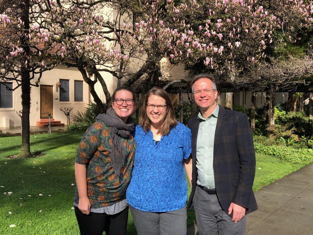 GSI director, abby mohaupt, and CreatureKind co-directors, Sarah Withrow King and David Clough, on the campus of Santa Clara University in San Jose, CA.