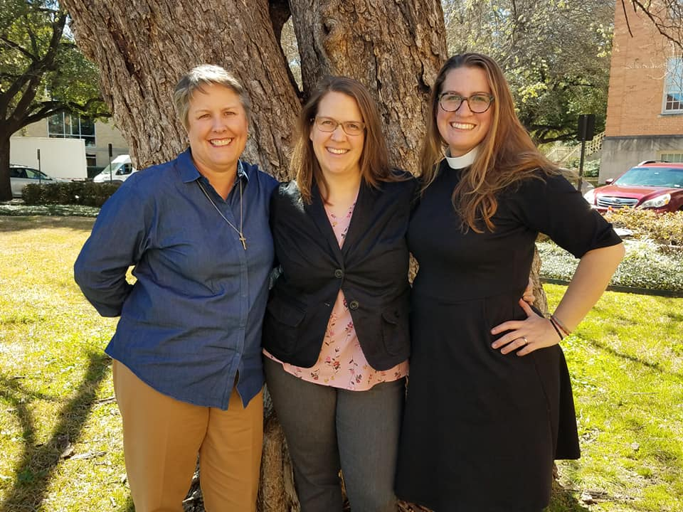 Sarah Withrow King with co-presenter, Rev. Sarah Macias (left) and Green Seminary Initiative Director, rev. abby mohaupt (right).