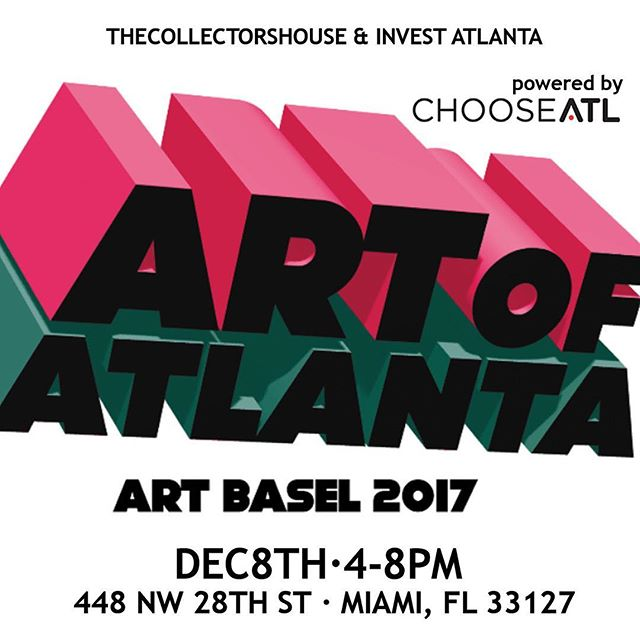We're ready for #ArtBasel2017! Friday! Meet Us Here! Bringing ATL to MIA @RenaldoNehemiah  #ArtBasel #ArtOfAtlantaBasel Powered By @chooseatl @invest_atlanta, @caveatmiami FREE FOR EVERYONE