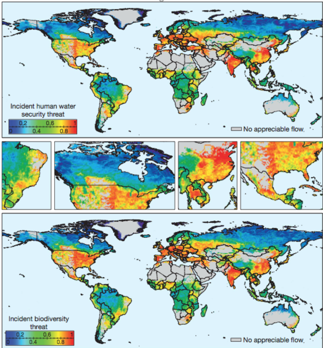 Vörösmarty, C. J., McIntyre, P. B., Gessner, M. O., Dudgeon, D., Prusevich, A., Green, P., Davies, P. M. (2010). Global threats to human water security and river biodiversity.  Nature.  Vol. 468, pp. 555-561. In this landmark study, the authors found a strong correlation between the severity of water security threats for humans, on one hand, and biodiversity, on the other.