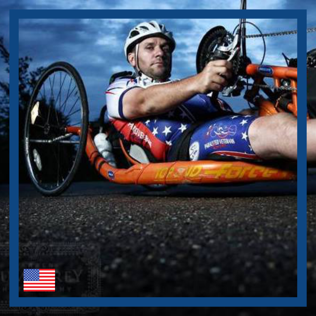 Brett aims to transfer between his wheelchair and handcycle unassisted.  Brett loves to handcycle. He is looking for a device to help him to transfer himself from his wheelchair to his handcycle on his own.