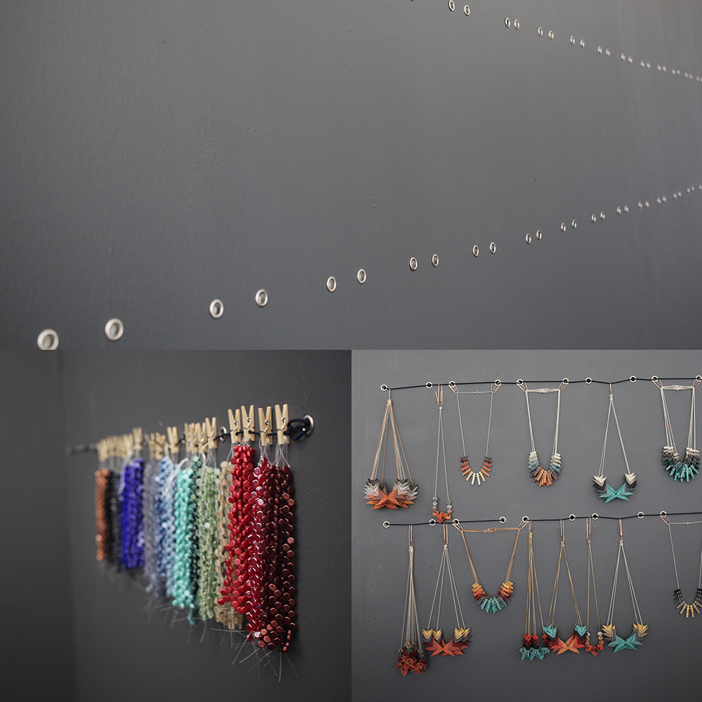 The new stock and bead storage system on our ubiquitous grey walls!