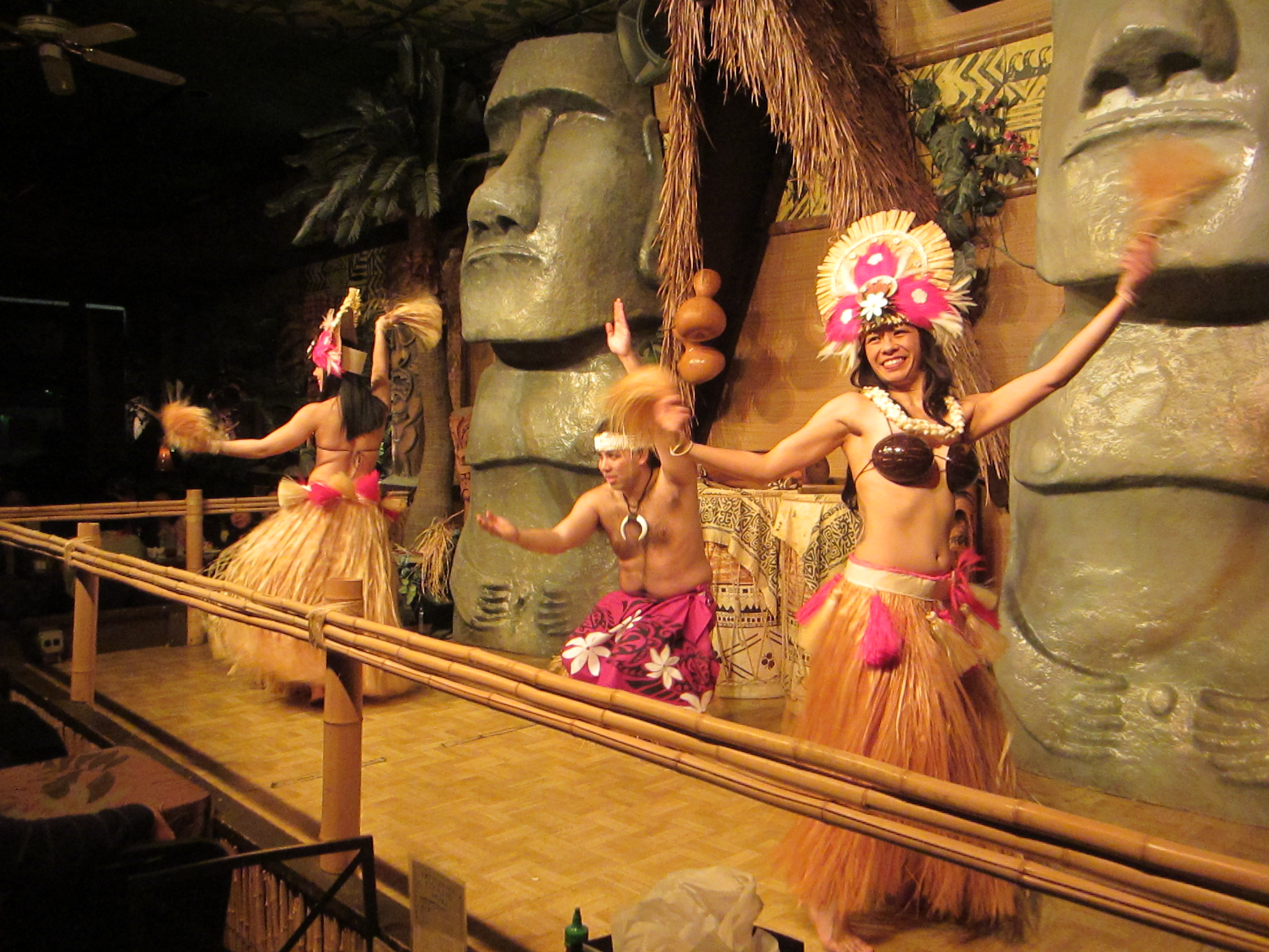 The tiki terrace dancers grace the stage and perform dances from all Polynesia! Above, you see the Tahitian ote'a!
