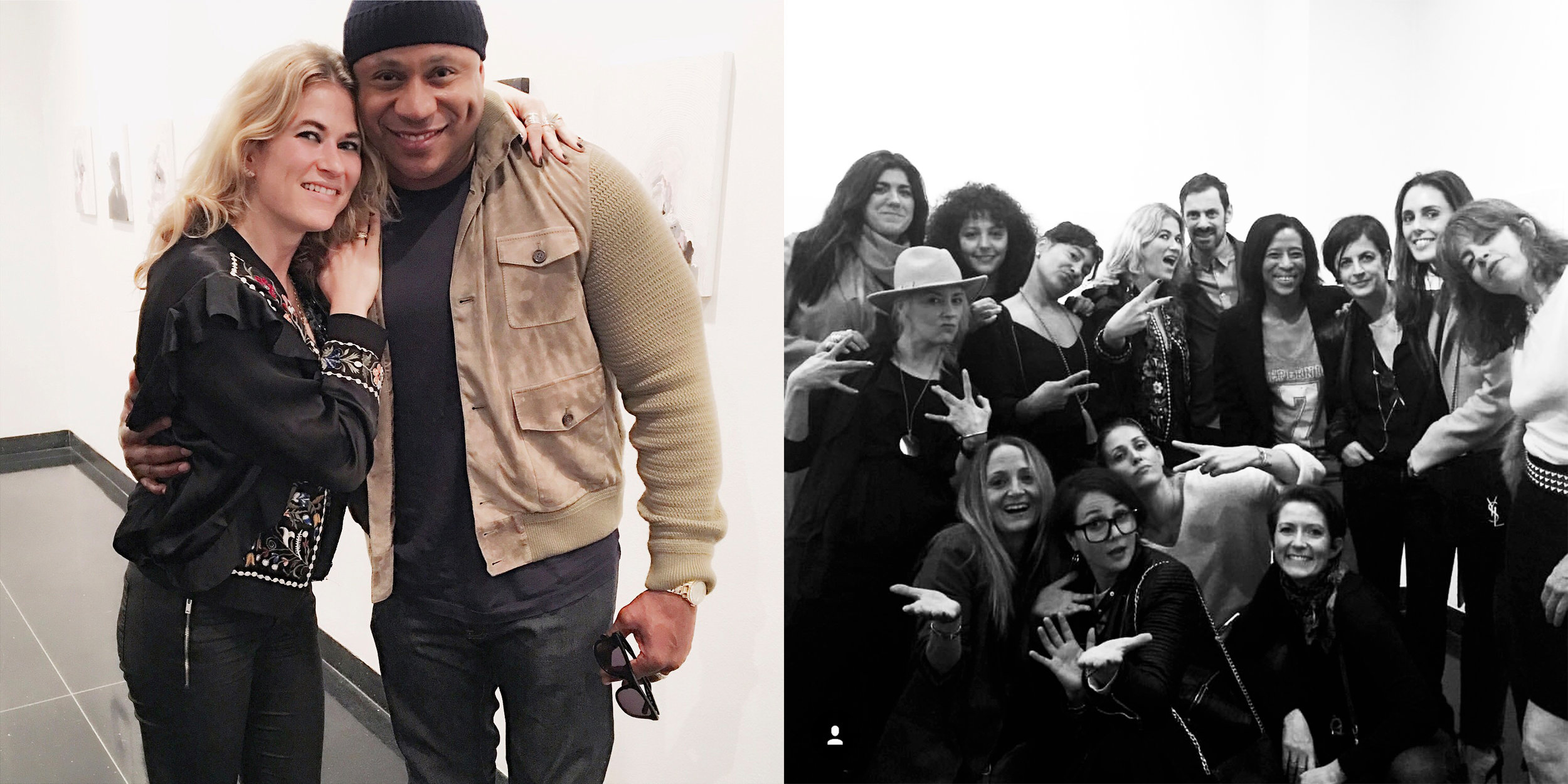 Artist Amelie Chabannes with guests, including LL Cool J.