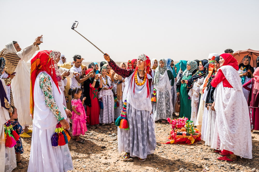 Traditions + Tech //  A Berber wedding celebration for an arranged marriage in the Sahara Desert. Begaa, Morocco.