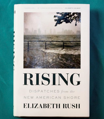 Rising  by Elizabeth Rush.  The brine is here. Sea level rise means temperature rise means species rise means we must rise from the stupor of our ego-systems to meet the challenge of responsible retreat, unspooling the red and blue from our flag to wave bone-white in surrender from all we've wrought. But our colonial, frontier-eating patriarch buries narratives like these as if they were bundled in cowardice and defeat. Instead, we bury ourselves in saltwater graves, paying no heed to nonhuman life on the move, en masse, all forced from known thermal niches. We too must make coastal resettlement fair and honest, a retreat to firm ground, a place of observation and reflection, not investing in the same sinking developments atop marshland and mangrove, these selfless edge zones that gulp our carbon and ask for nothing in return. Exploit the edges and we lose, for edge zones are where the great conversations happen: between Earth and us, between us and us. The brine is here and it laps at our doors, fists knocking harder and louder, megastorms dervishing off-shore and on-deck to bowl their strikes of ecological indifference. Retreat or rebuild, rise or raze. Ask these questions now because the brine is here, the seas they rise, and we must rise with them.