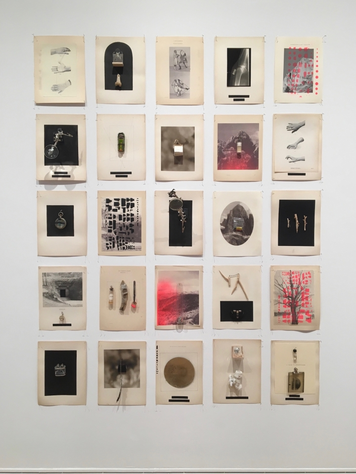 """Julie Wolfe, """"Damage Control Observatory"""" (2017), found objects, digital prints and screen prints on found book pages"""