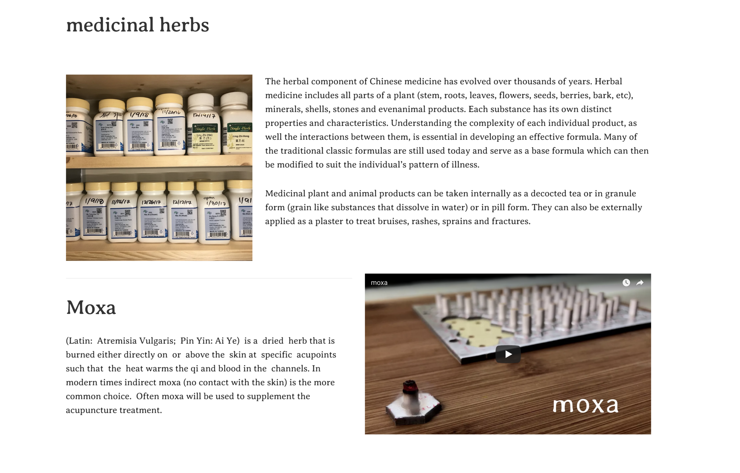 medicinal herbs /moxa