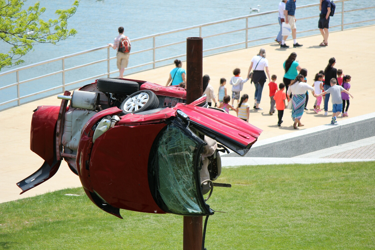 Car crash art outside of museum