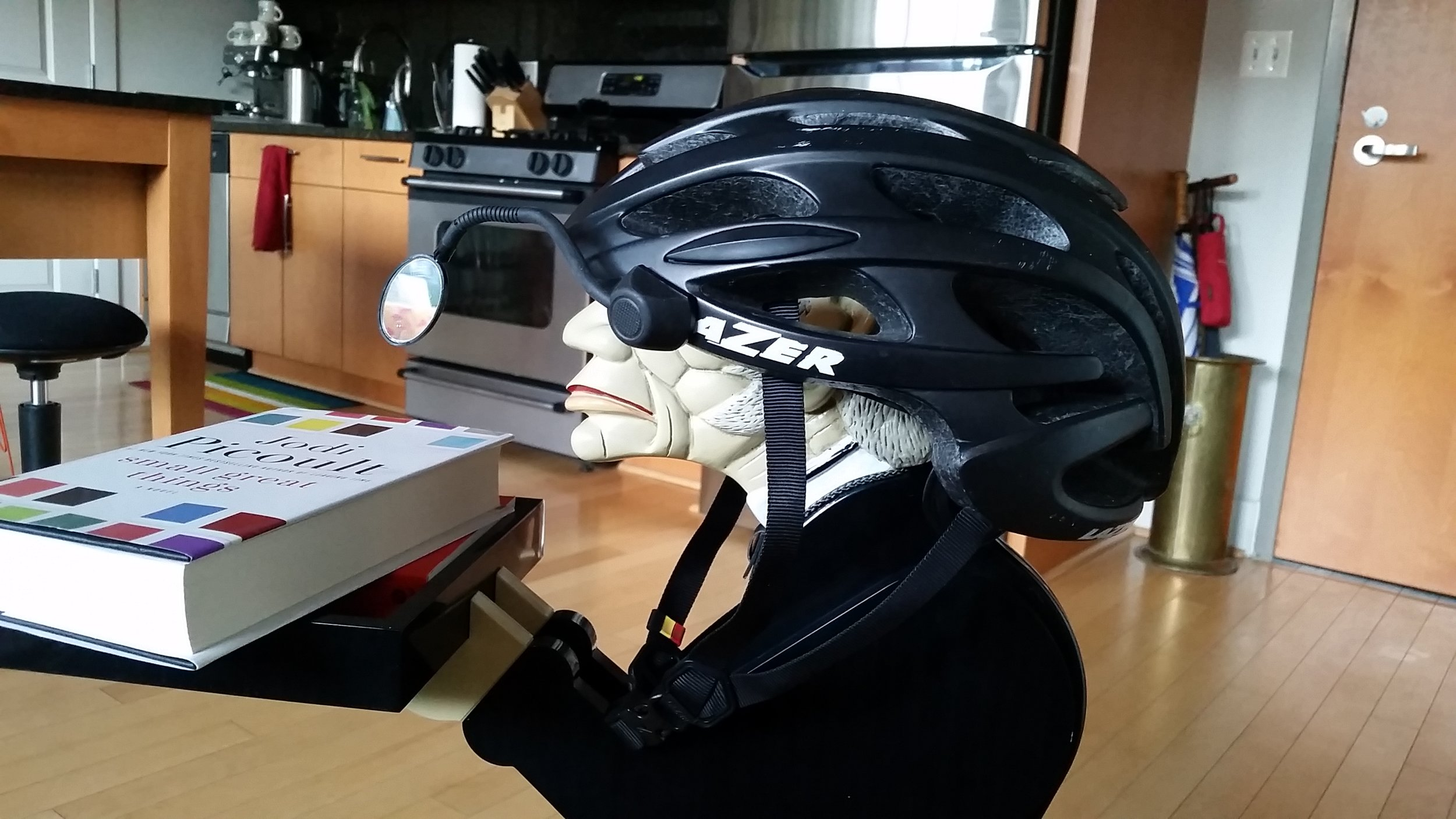 Helment-mounted rear-view lets this guy can see everything in front of and behind him