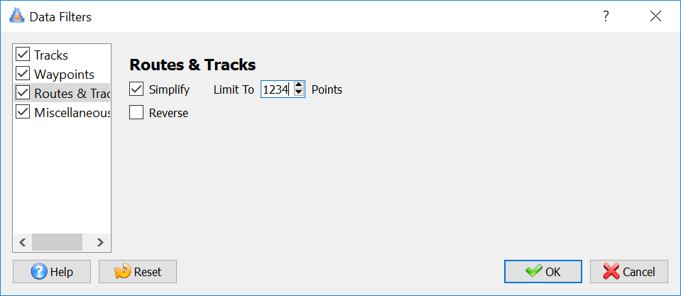 """After selecting """"Filter"""", click """"Routes & Tracks"""""""