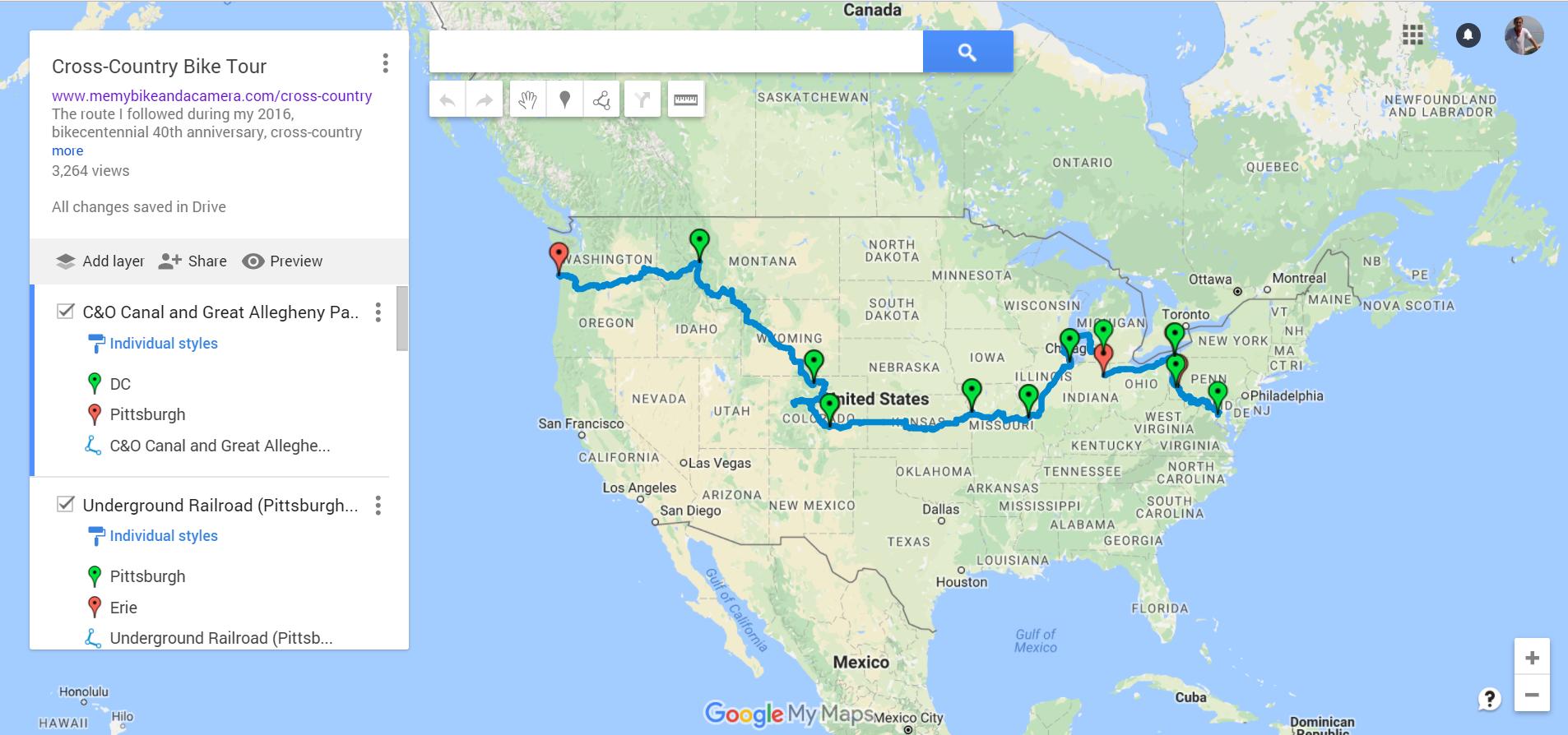 Working version of custom bike map in Google My Maps