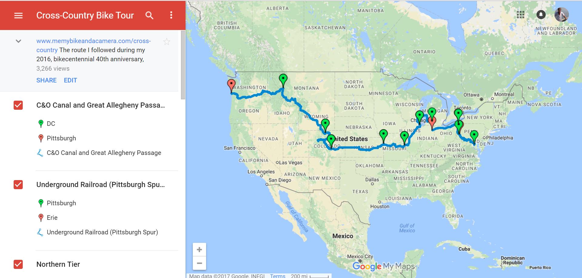 Preview of custom bike map in Google My Maps