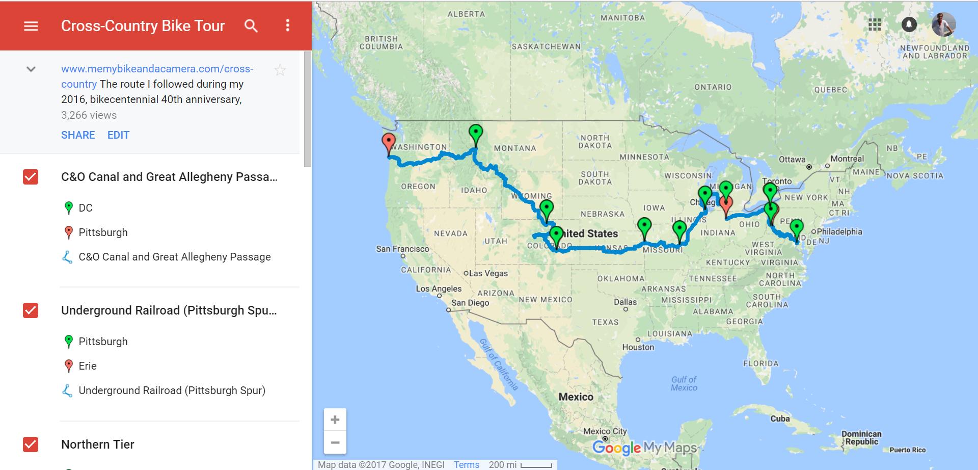 Custom Bike Map in Google My Maps