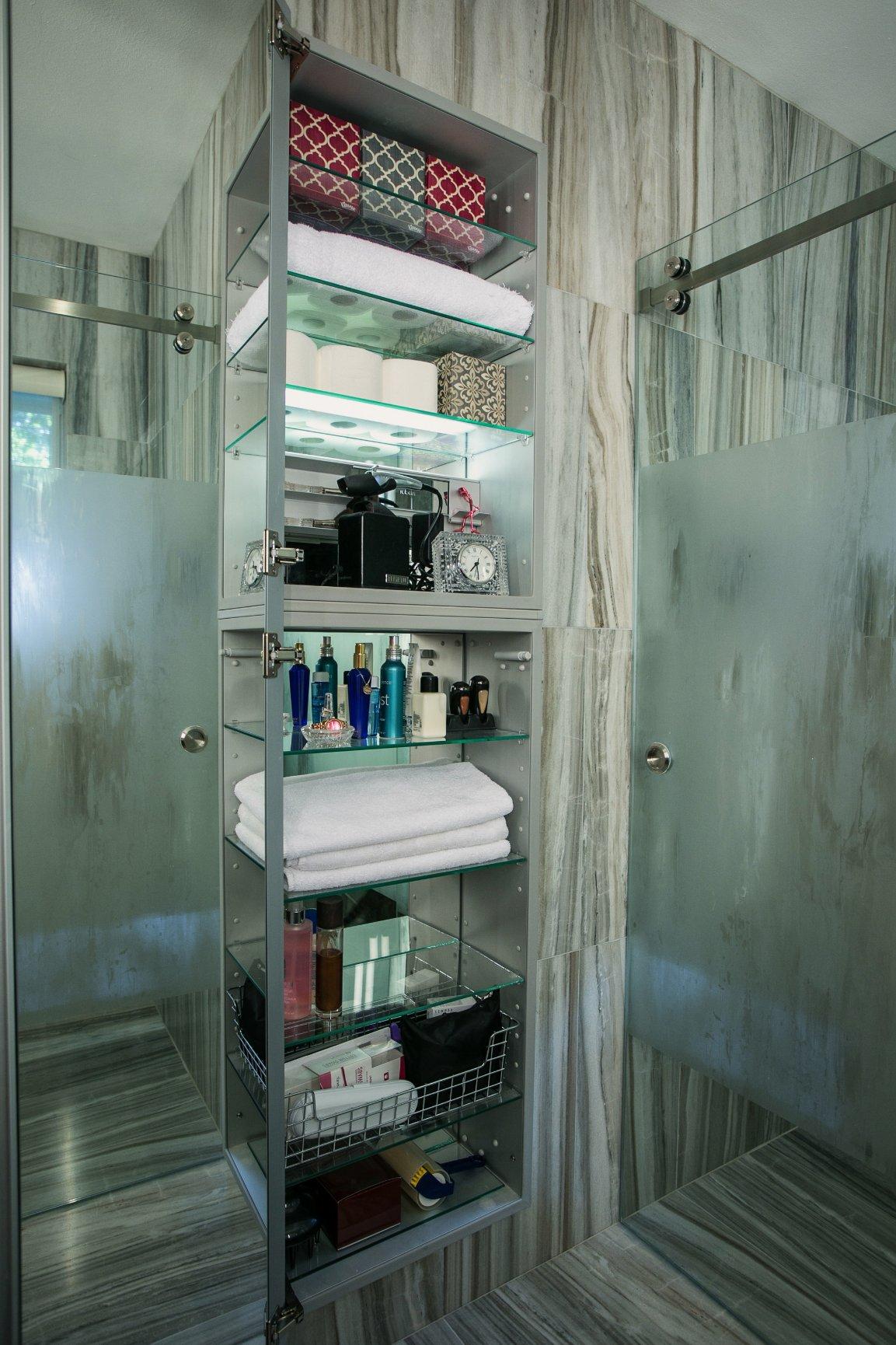 Storage options for master bath - custom interior design by Jill Ornelas at Ambiance