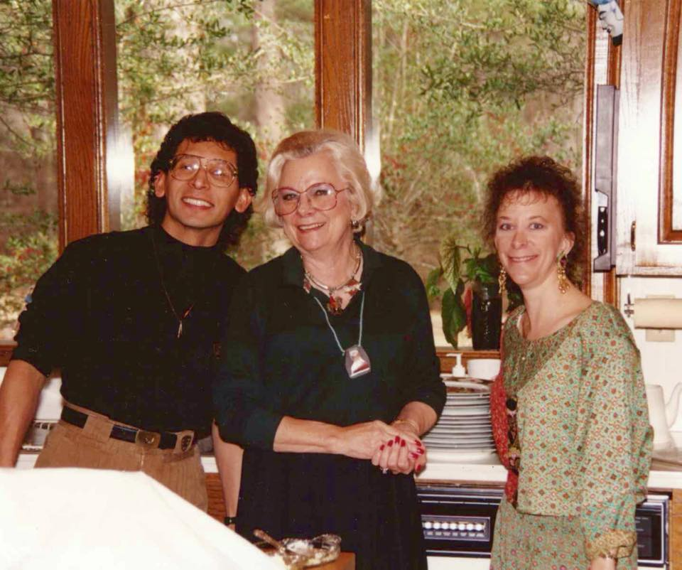 JR, Mother and me many years ago (maybe before we were married) in Mother's kitchen at Christmas.