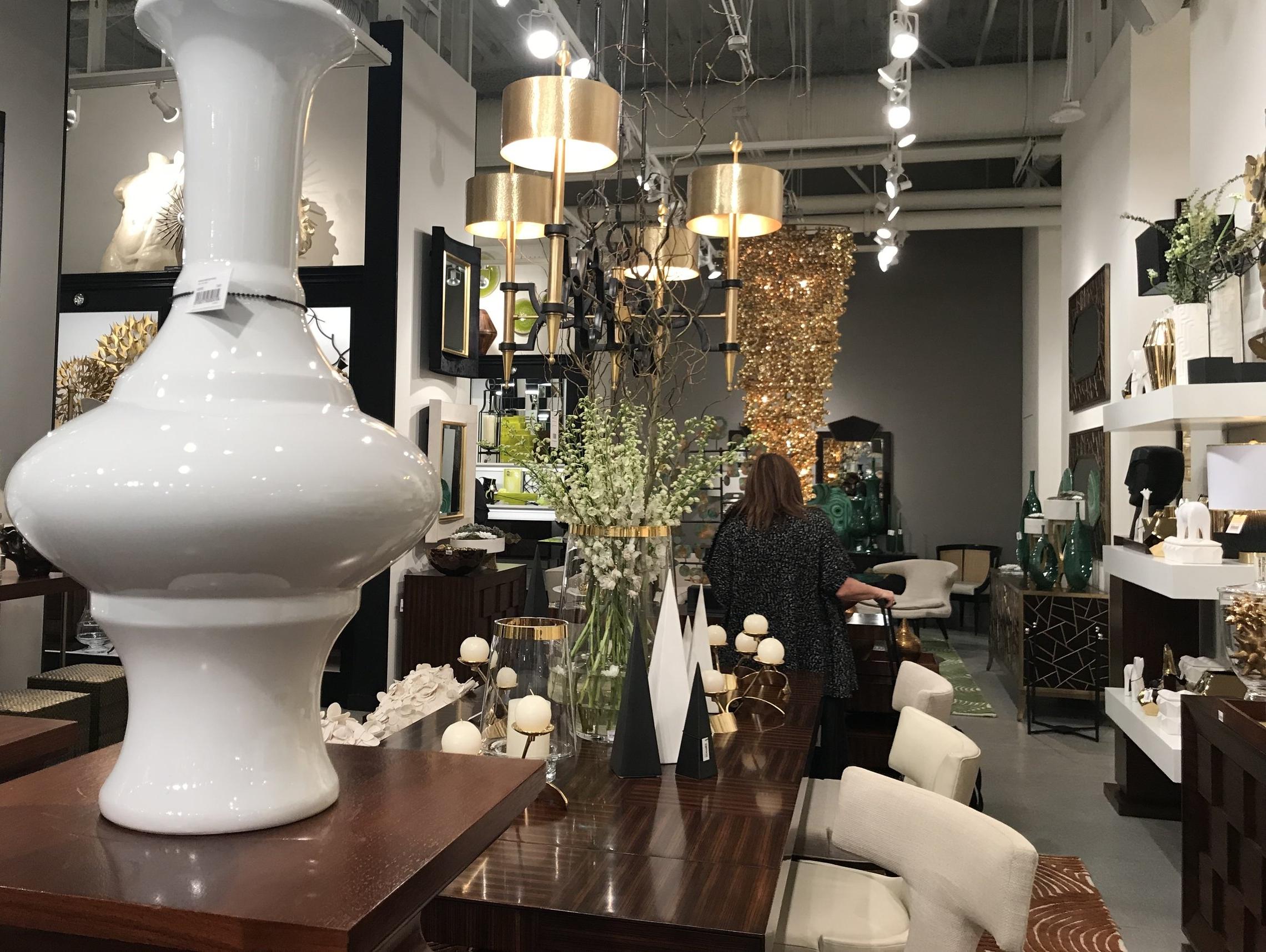 Gold chandeliers at a showroom at Las Vegas Market last week.