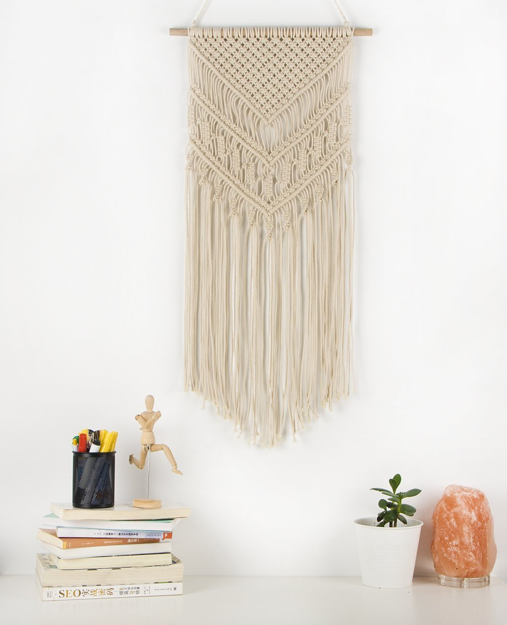 - This small macrame wall hanging could be at home among a grouping of other art or adding a touch of 1970's to a small space.