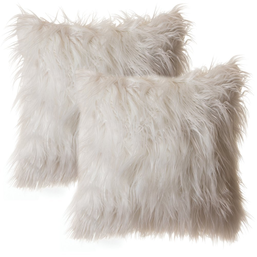 Cute and super-soft  faux fur throw pillows  for sofa or bed.