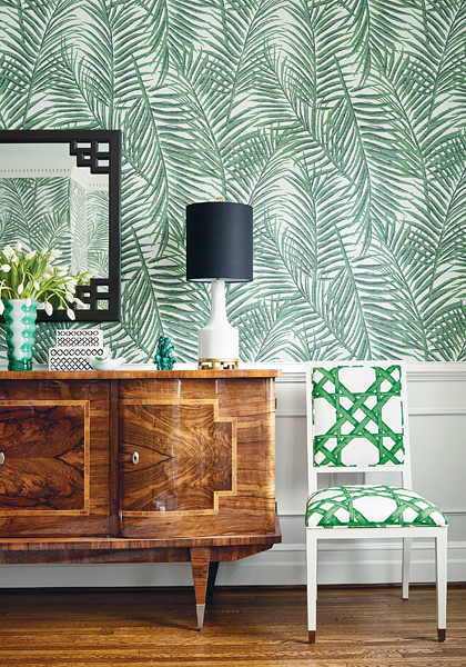 Thibaut's West Palm grasscloth in Emerald Green.