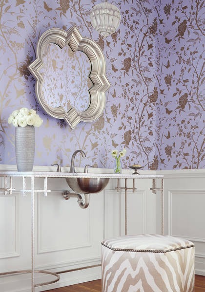 Thibaut's Liang wallpaper in Lavender with Metallic Gold