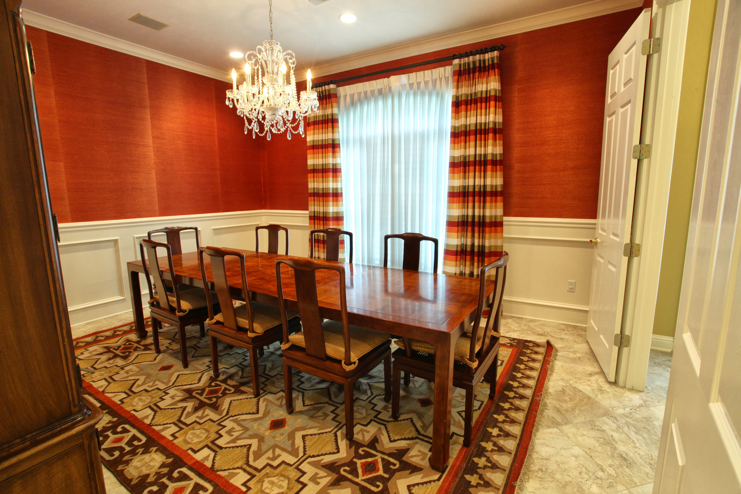 Red grasscloth in my clients dining room.