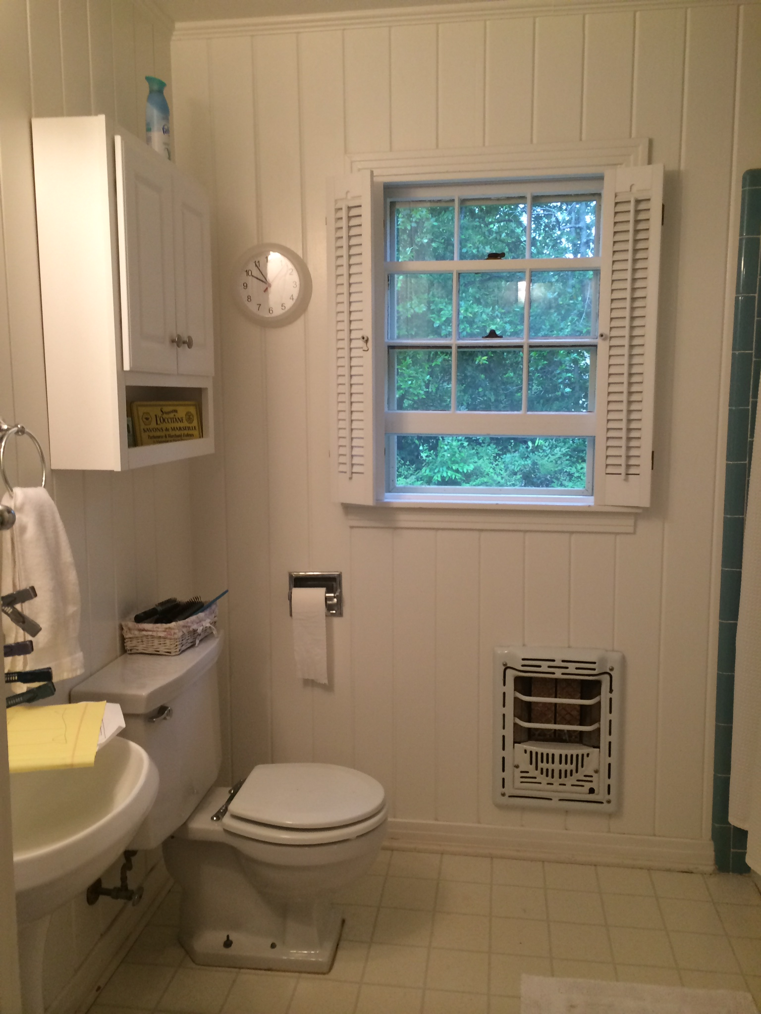 And here's the full bath. Again with no counter space.