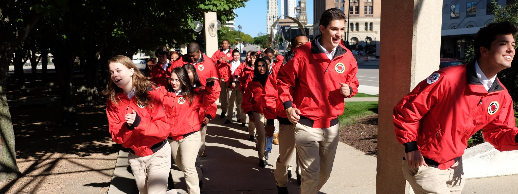 City Year Milwaukee AmeriCorps members entering their swear-in ceremony.