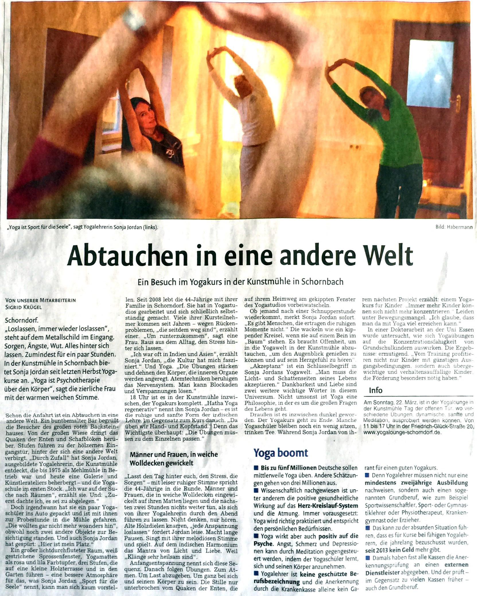 Zeitungsartikel aus den Schorndorfer Nachrichten 13.03.2015