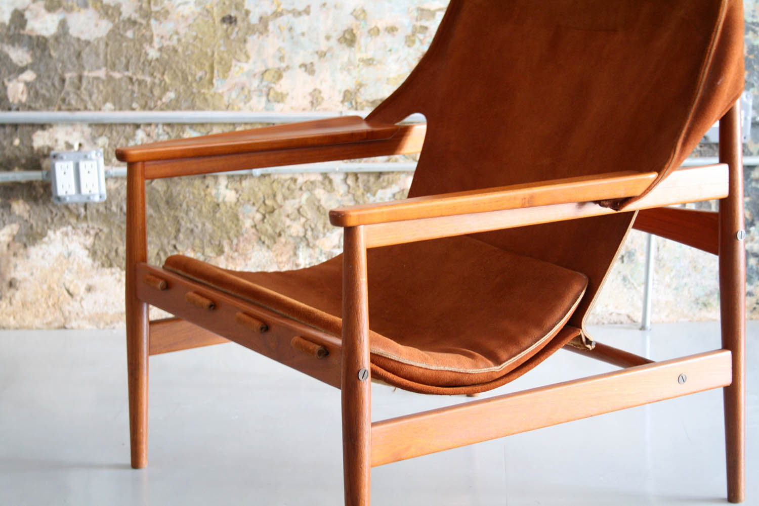 Danish Teak And Leather Sling Lounge Chair By Hans Olsen