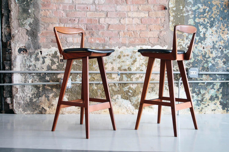 Picture of: Pair Of Danish Teak Bar Stools By Rosengren Hansen Circa Modern