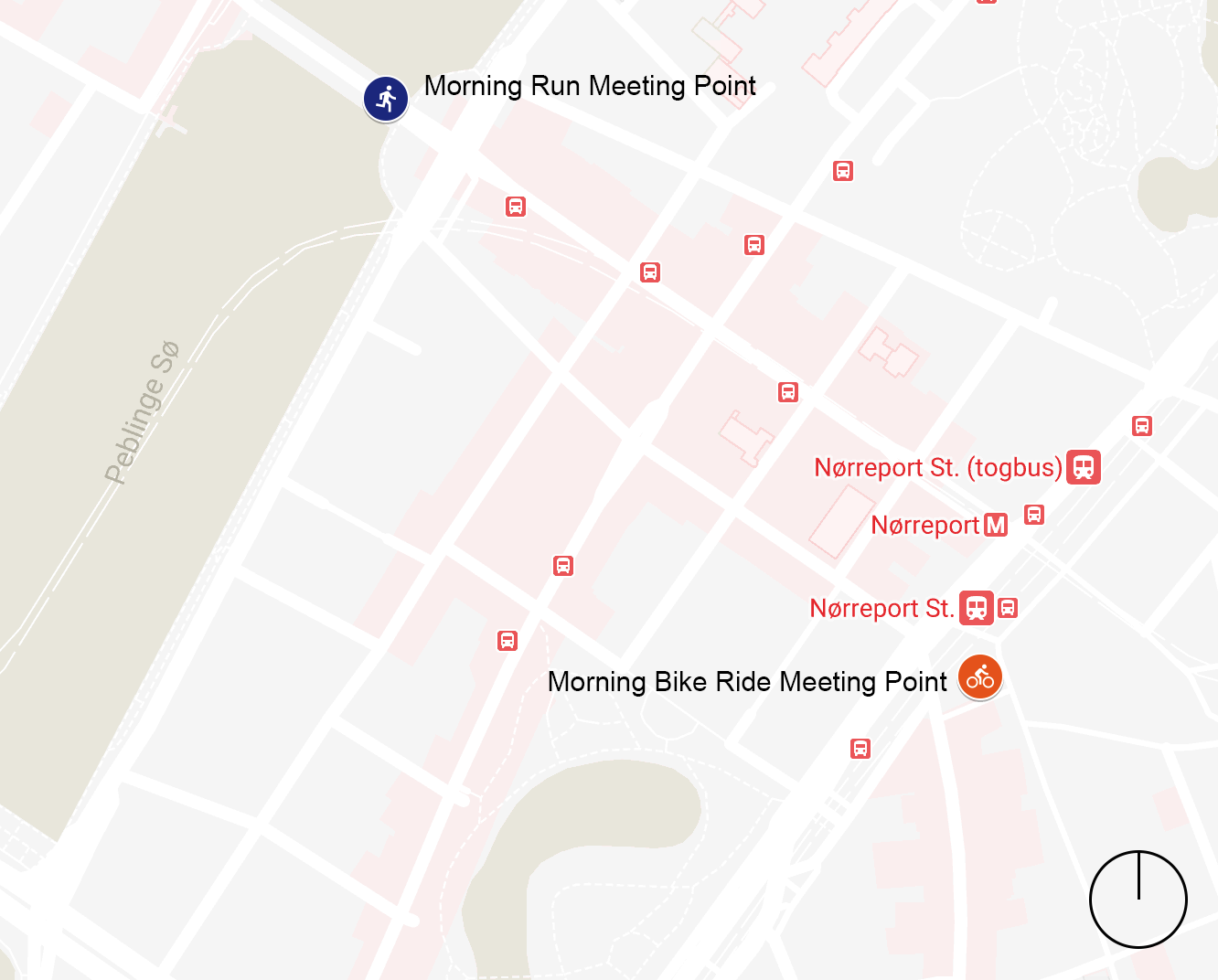 Map of Run & Bike Ride Meetup Points