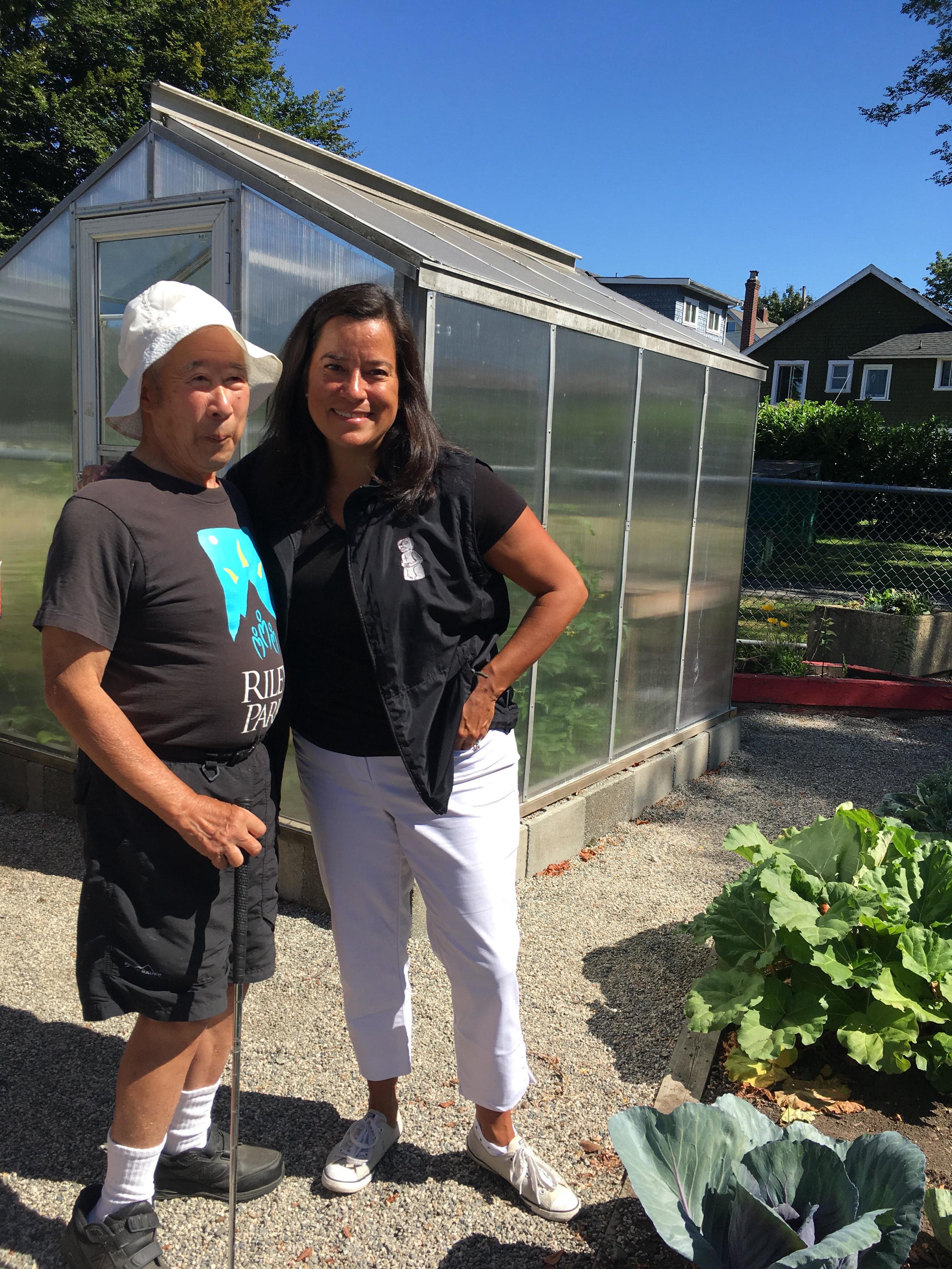 MP Jody Wilson-Raybould with Ed Shum, a lifelong gardener.