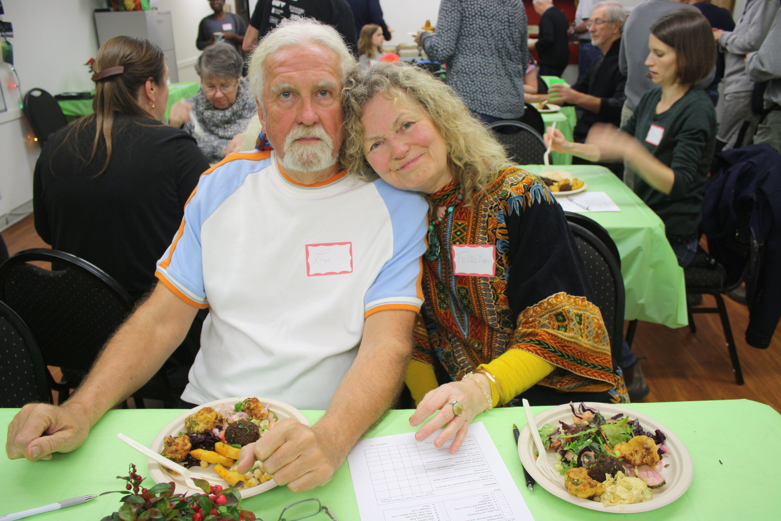 Happy volunteers Lloyd and Felicia enjoying the meal.