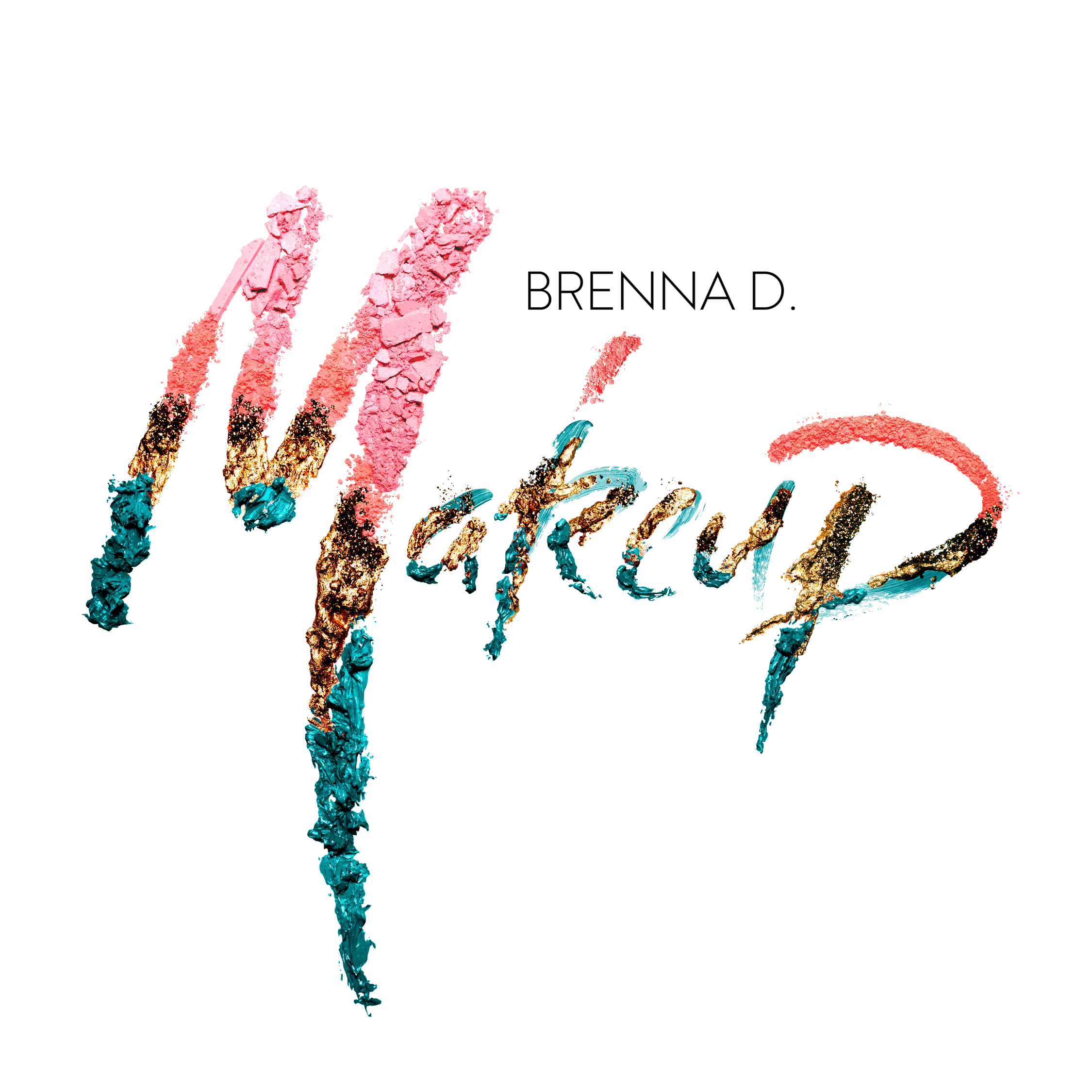 BRENNA D. MAKE UP - Brenna Drury, a makeup artist, needed a touch up on her brand image. Makeup is an art medium in its own right, so the utilization of craft items was essential. This logo was created using physical makeup brushes, powders, lipstick and eye shadow.