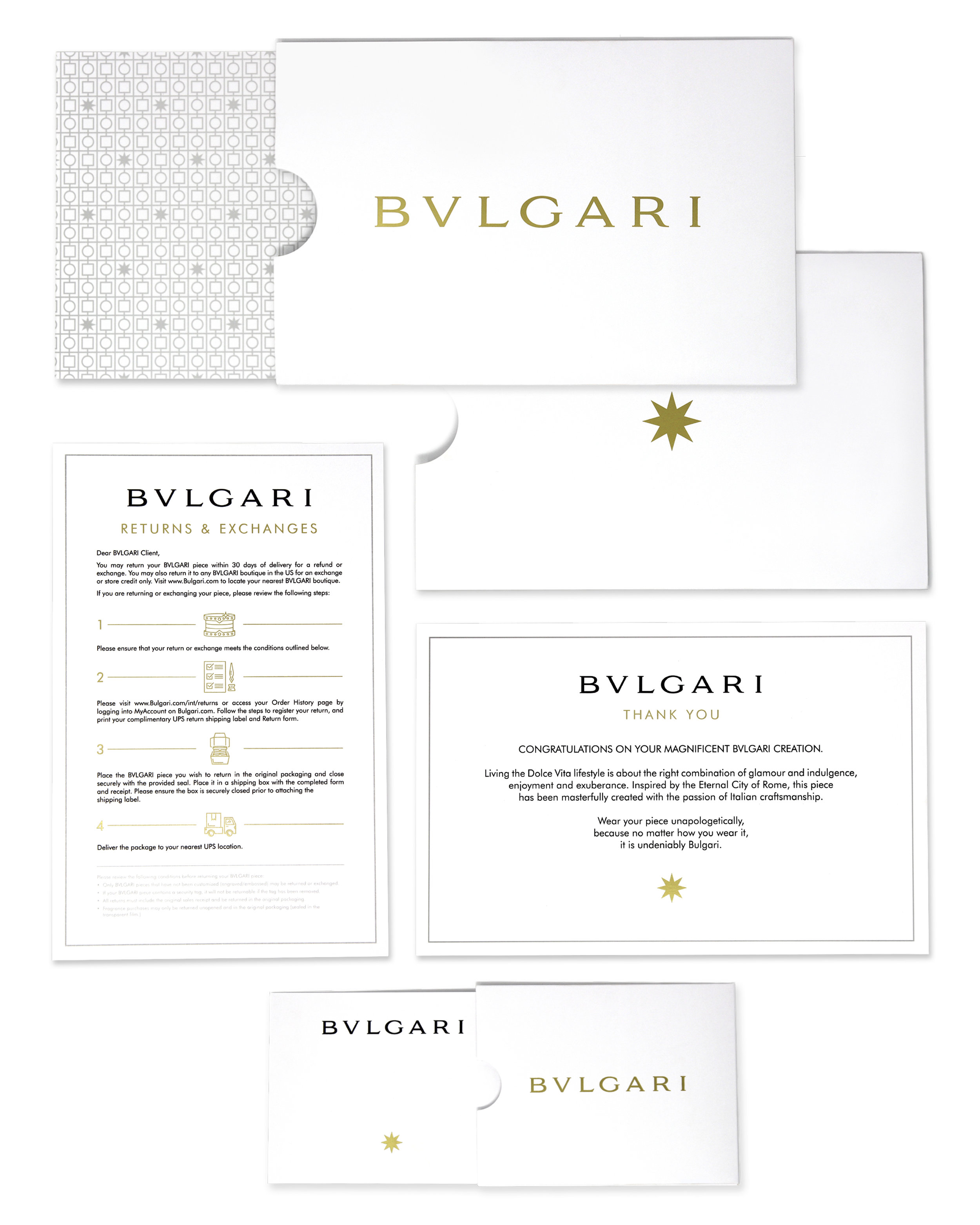 BVLGARI - Bvlgari wanted a specific packaging collateral redesign including assets such as: return instructions, thank you cards, gift note, etc.