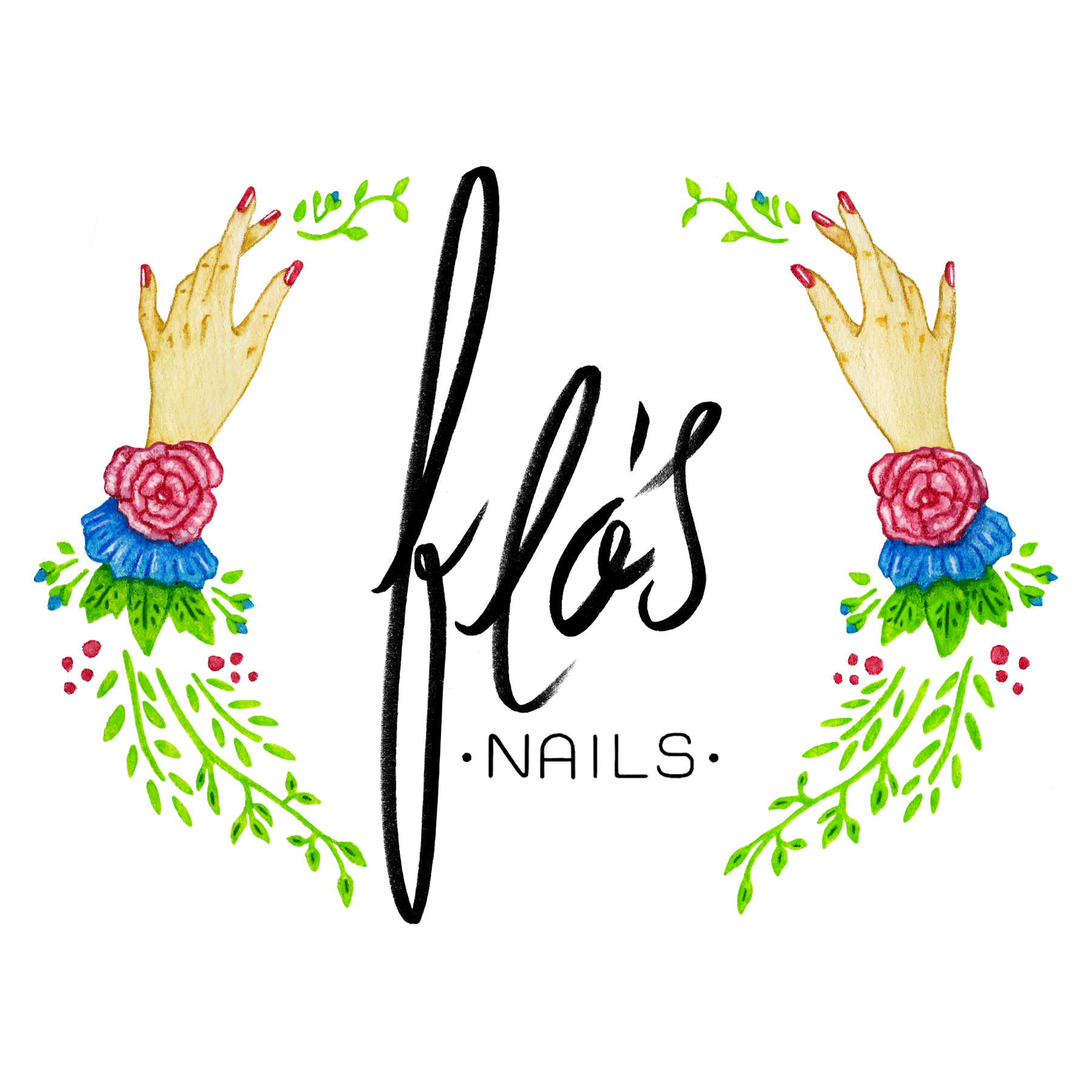 FLO'S NAILS - BRANDING | FREELANCEFlo's Nails is a boutique nail salon that was looking for a clean, floral mantling with a legible script type treatment. The type and border were both hand-drawn with both pen and watercolor border options from which to choose.