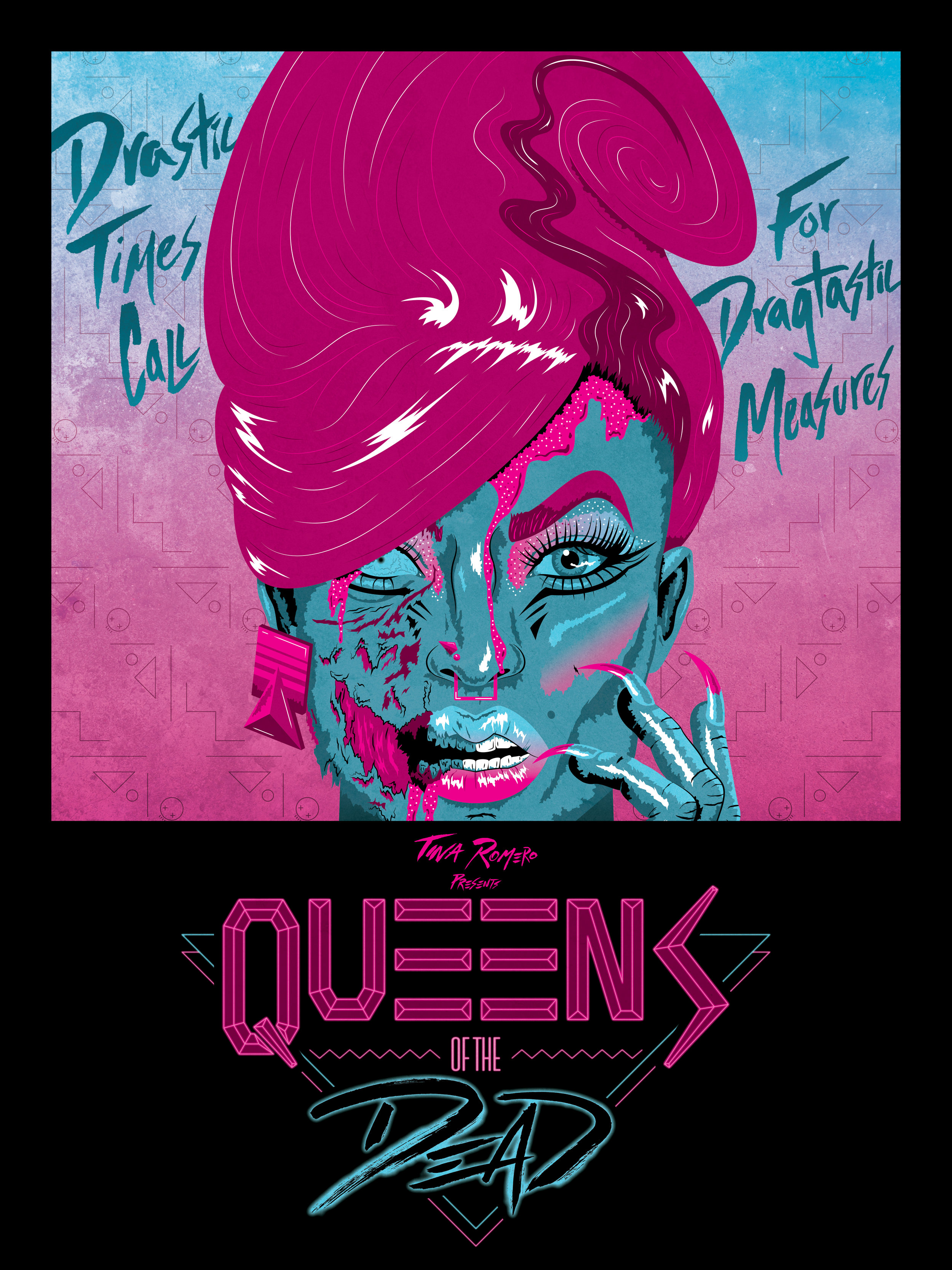 QUEENS OF THE DEAD - BRANDING | FREELANCETina Romero wrote the film, Queens of the Dead, a story involving drag queens and the apocalypse with an 80s aesthetic. She hired me to create a movie poster and logo that pays homage to her father, George Romero's Dawn of the Dead.