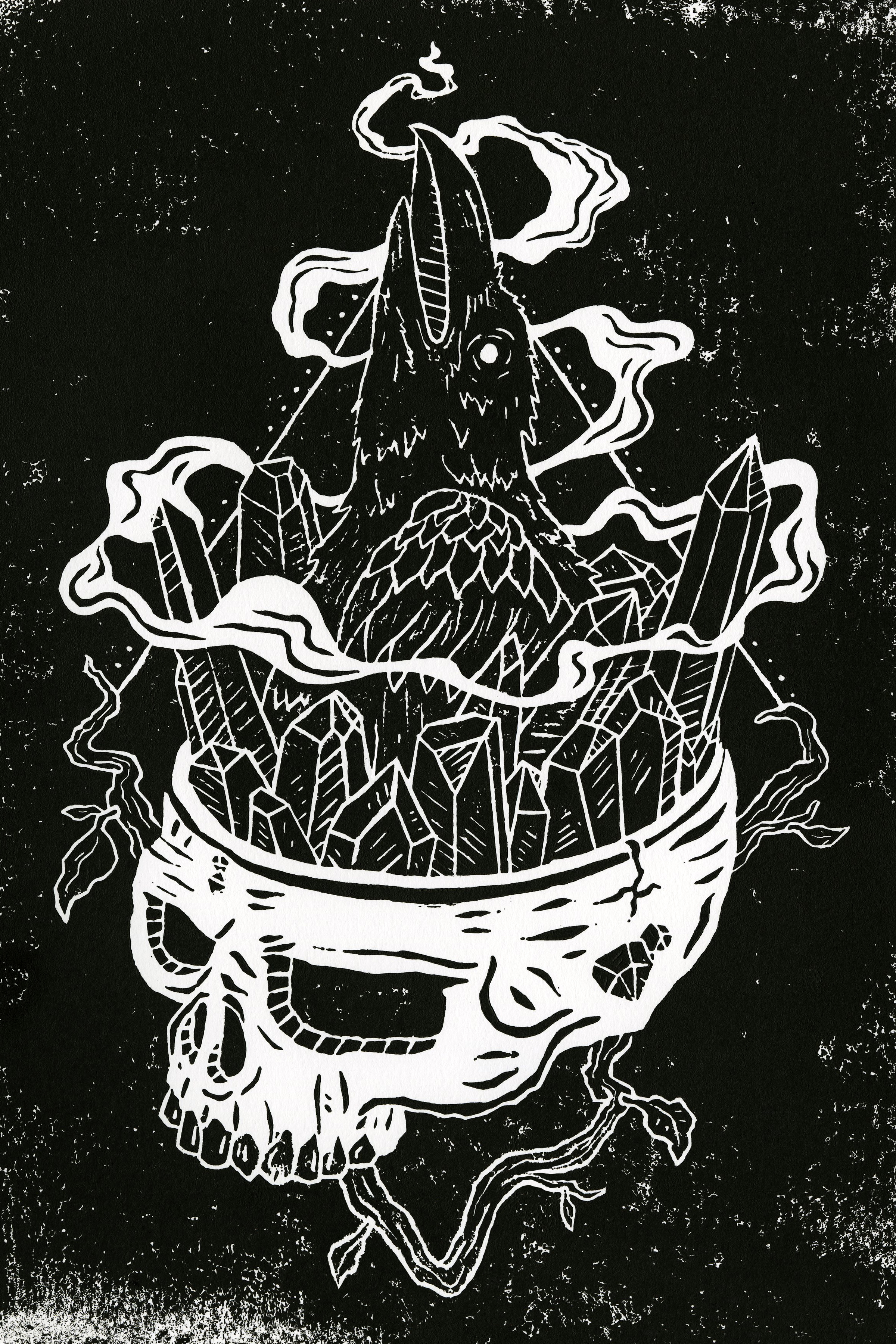 RAVEN OF THE CRYSTAL SKULL - ILLUSTRATION | FREELANCEIndependent linocut exploration featuring a skull, raven, crystals.