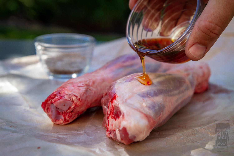 Adding Oil to Lamb Shanks