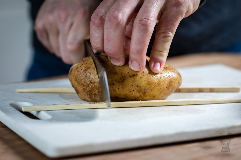 Cutting a Hasselback Potato