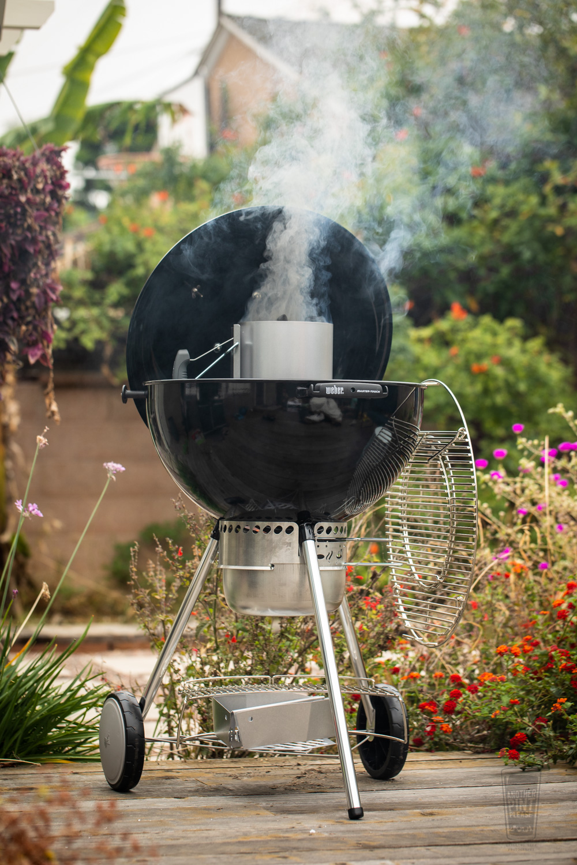 Weber Charcoal Chimney Lit