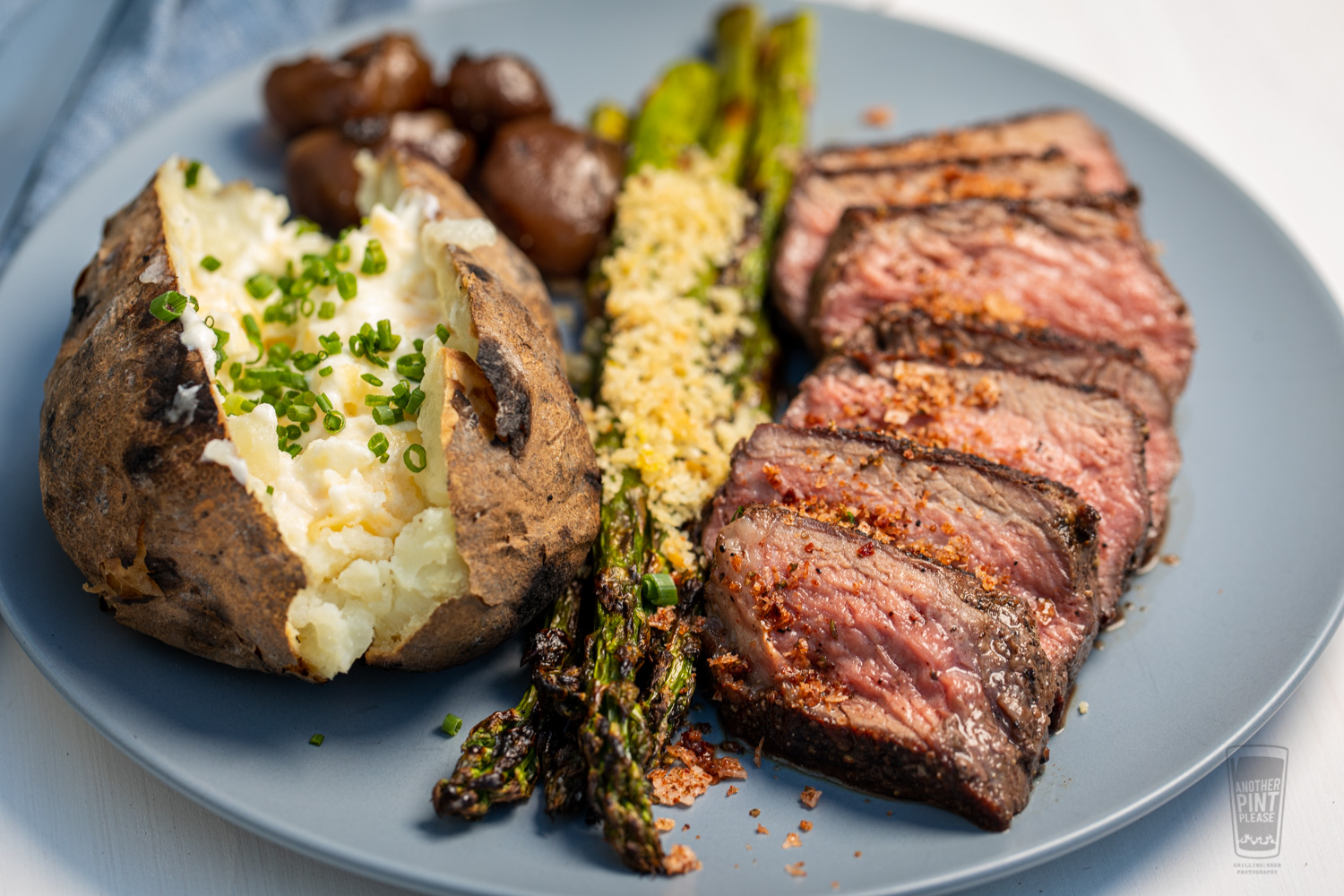 Grilled NY Strip with Loaded Grilled Potatoes and Asparagus