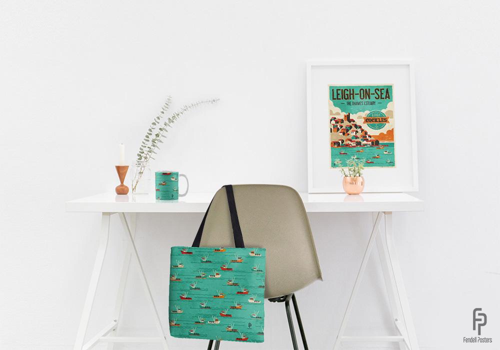 Fendell Posters Leigh-on-Sea Poster, Mug and Tote Bag