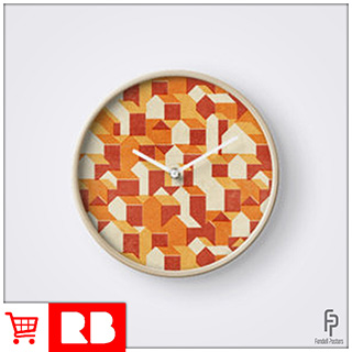 Little Houses Pattern - Clock