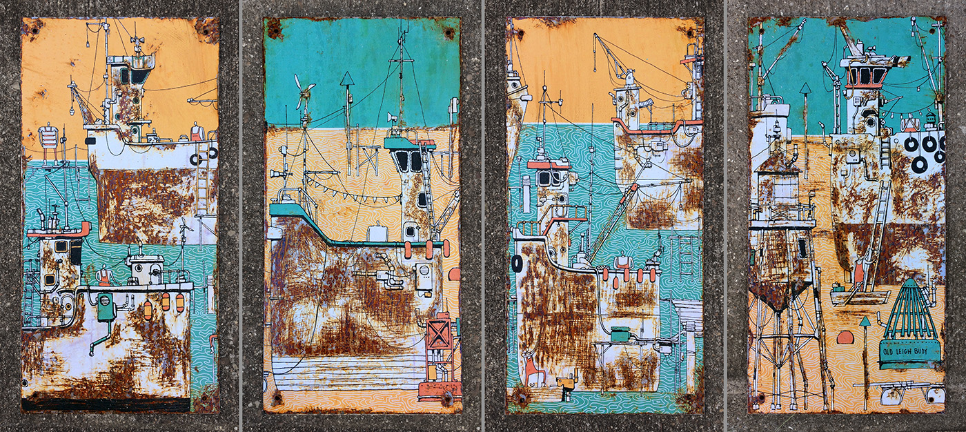 Rusty Boats of Leigh Pieces by Neil Fendell