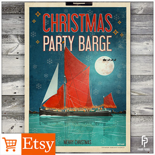 Christmas Party Barge - A2 Poster