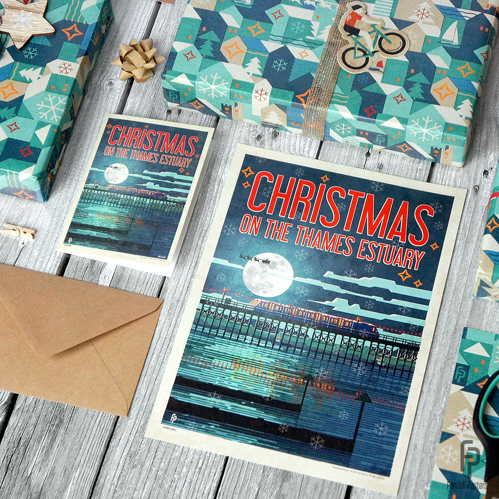 Christmas on the Thames Estuary Card, Poster and Wrap