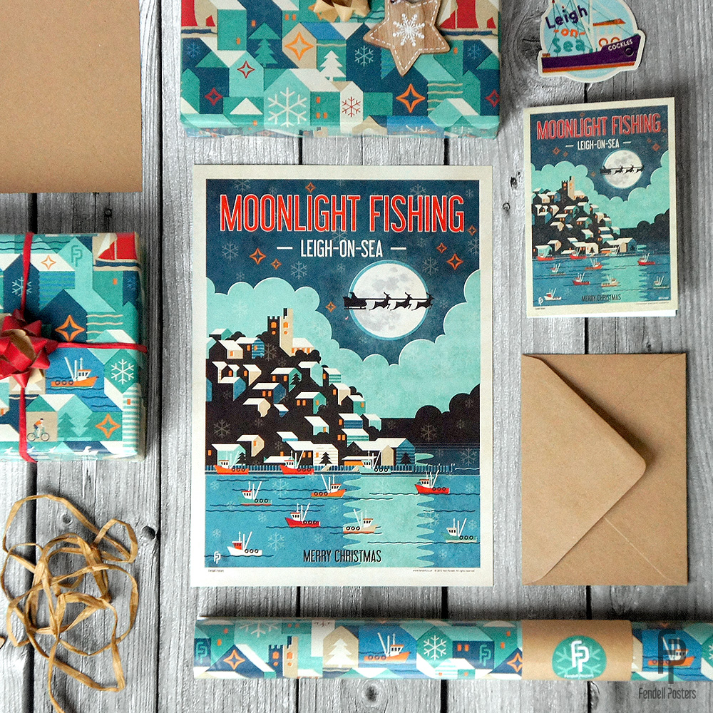 Leigh-on-Sea Moonlight Fishing Christmas poster, card and wrapping paper