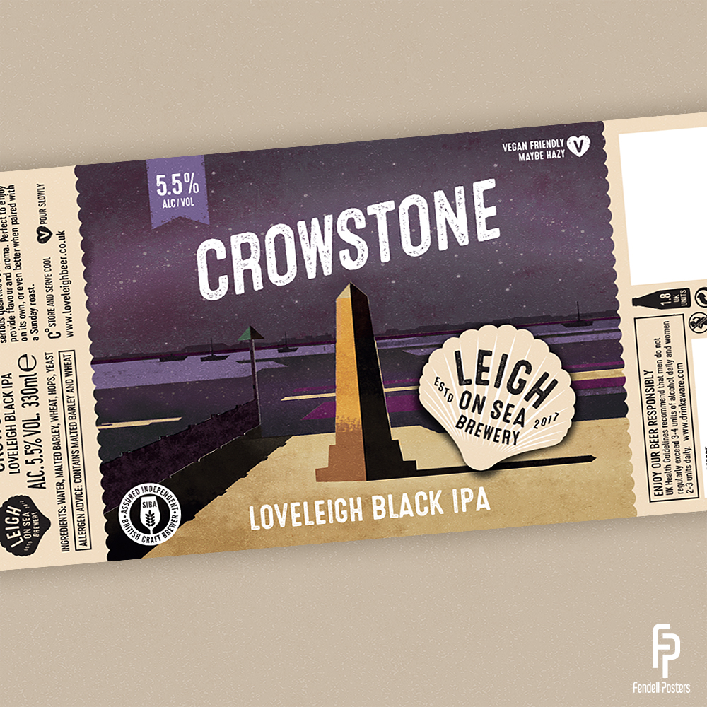 Leigh-on-Sea Brewery - Crowstone Bottle Label Artwork